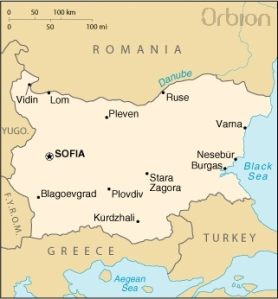 Jednoduchá mapa Bulharska